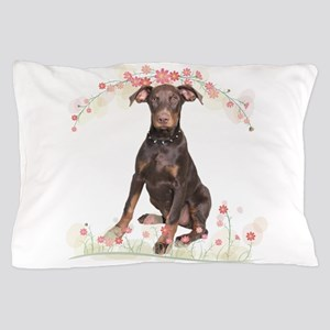 Doberman Flowers Pillow Case